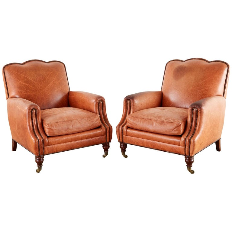 Pair of A. Rudin Art Deco Leather Lounge Chairs For Sale