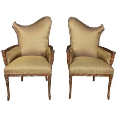 Pair of Carved Hollywood Regency Armchairs