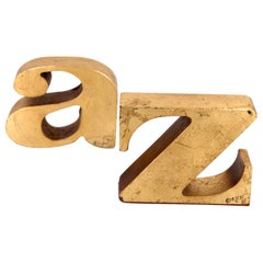 "Pair of ""A to Z"" Bookends by Curtis Jere Signed & Dated 1969 in Gold Leaf Finish"