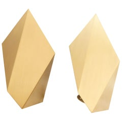 Pair of Abstract Folded Sconces in Satin Brass