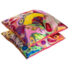 Pair of Abstract Hand Painted Silk Floor Pillows