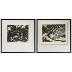 Pair of Abstract Lithographs by Lucy Siekman, #1