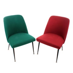 Pair of Accent Chairs circa 1950s Stylish Set of Accent Chairs or Slipper Chairs