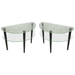 Pair of Acid Etched Demi Lune Tables