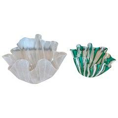 Pair of Acid Signed Venini Murano Italia Handkerchief Vases