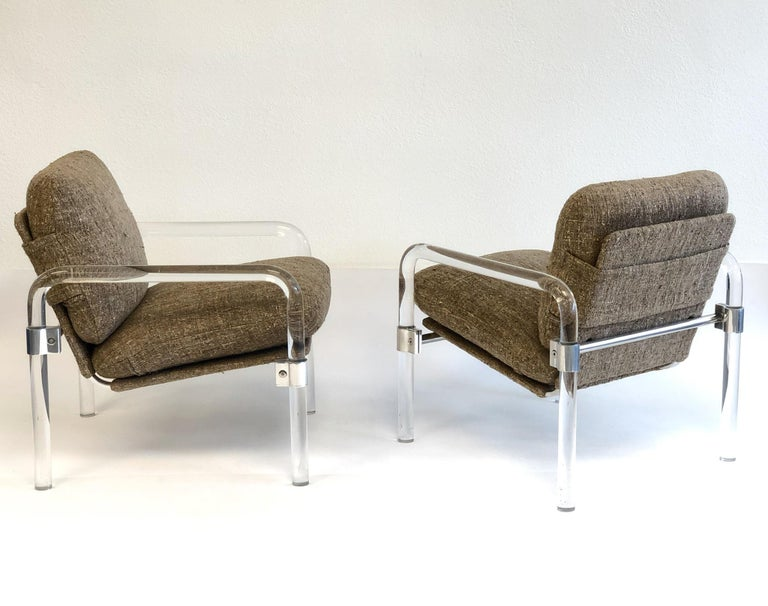 Modern Pair of Acrylic and Chrome Lounge Chairs by Jeff Messerschmidt For Sale