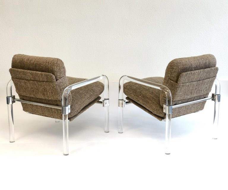 American Pair of Acrylic and Chrome Lounge Chairs by Jeff Messerschmidt For Sale