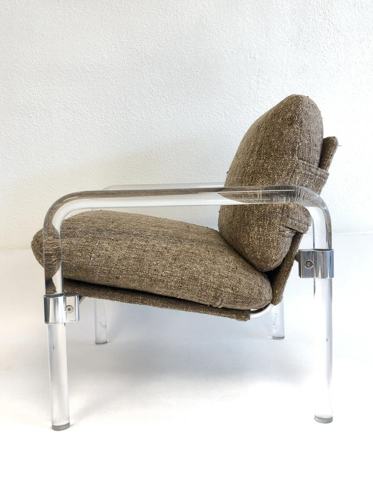Late 20th Century Pair of Acrylic and Chrome Lounge Chairs by Jeff Messerschmidt For Sale