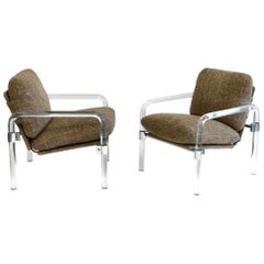 Pair of Acrylic and Chrome Lounge Chairs by Jeff Messerschmidt