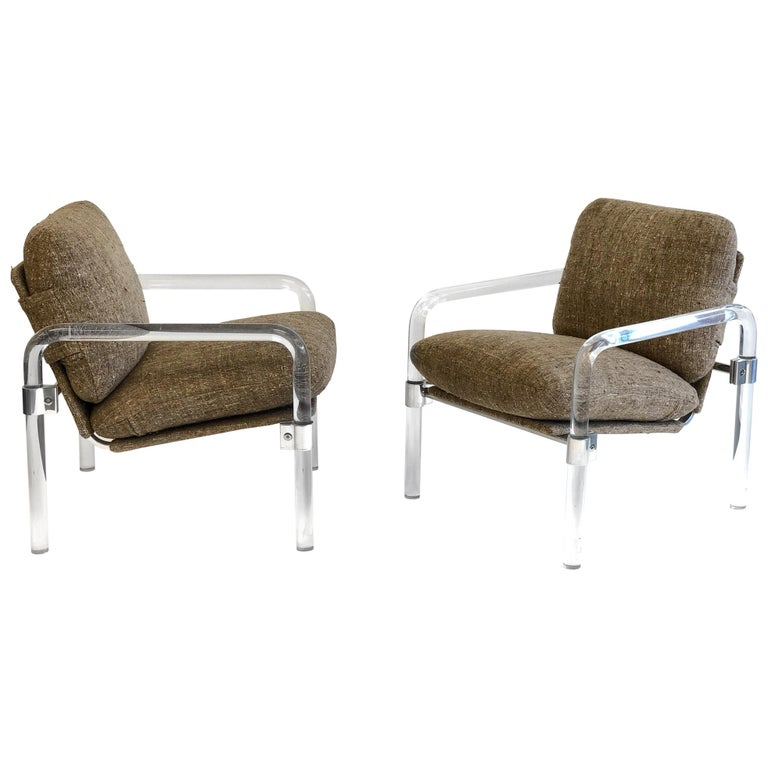 Pair of Acrylic and Chrome Lounge Chairs by Jeff Messerschmidt For Sale