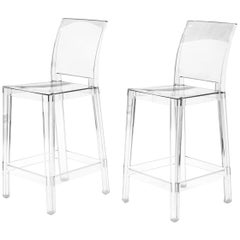"""Pair of Acrylic """"Ghost"""" Counter Bar Stools, Philippe Starck for Kartel, Like New"""