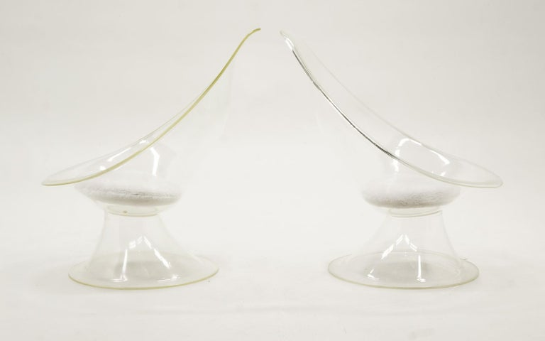 Mid-Century Modern Pair of Acrylic or Lucite Lily Chairs by Estelle & Erwin Laverne, White Cushions For Sale