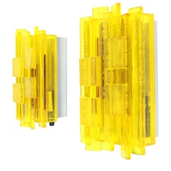 Pair of Acrylic Yellow Wall Lamps by Claus Bolby for Cebo Industri, 1960s