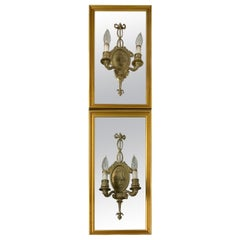 Pair of Adam Style Two Lights Wall Sconces Mirrors