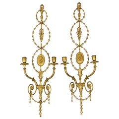 Pair of Adam Style Wall Sconces in Gilt Stucco and Metal, 1950s