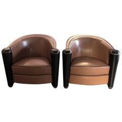 Pair of Adam Tihany Marnie Club Chairs for Pace