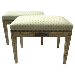 Pair of Adams Style Hand Painted Benches Made in Italy