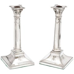 Pair of Adams-Style Sheffield Plated Column-Form Candlesticks