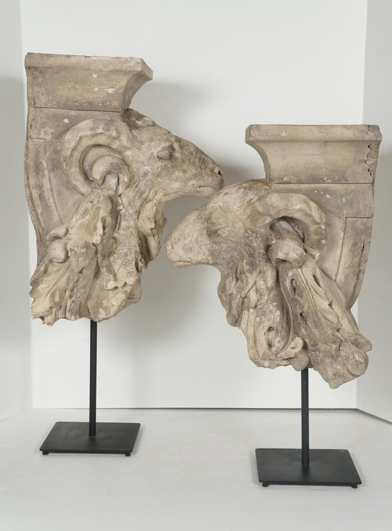 Neoclassical Pair of Addorsed 18th Century French Terracotta Architectural Fragments For Sale