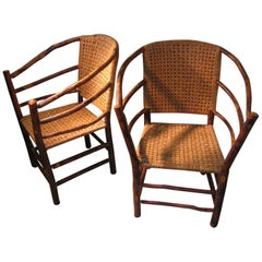 Pair of Adirondack Old Hickory Chairs with Split Reed Seats Backs