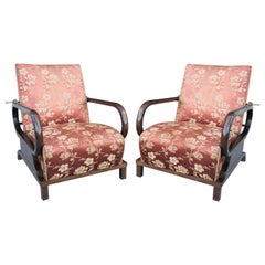 Pair of Adjustable Beech and Walnut Armchairs Art Deco, 1930s