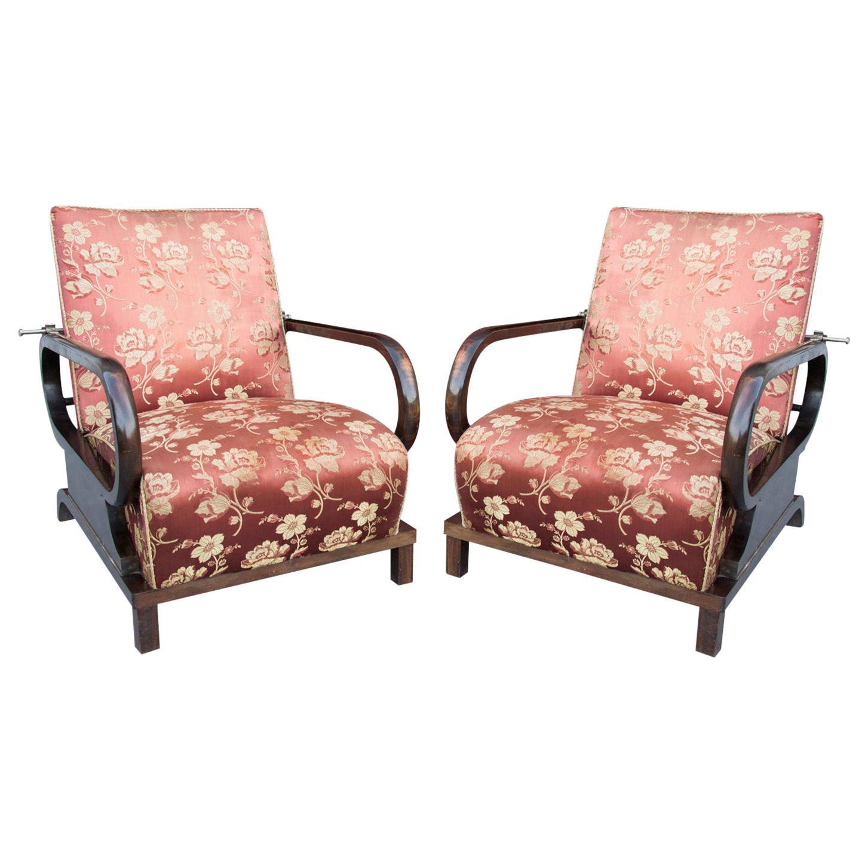 Pair of Adjustable Beech and Walnut Armchairs Art Deco, 1930s