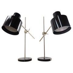 Pair of Adjustable Black Bakelite Industrial Table Lamps / Czechoslovakia, 1970s