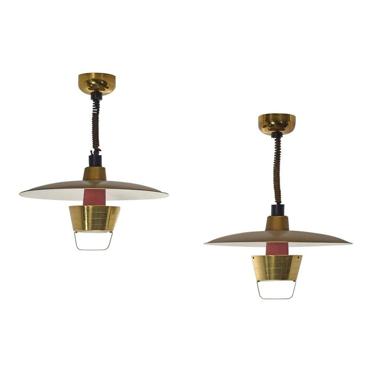 Pair Of Simple Church Lights For Sale: Pair Of Adjustable Ceiling Lights By John C. Virden, Circa