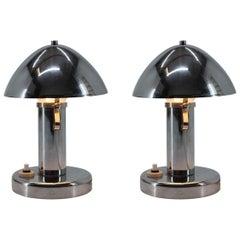 Pair of Adjustable Chrome Bauhaus Table Lamps, 1930s