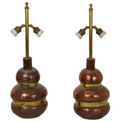 Pair of Adjustable Copper Table Lamp with Brass, 1970s, Florence, Italy