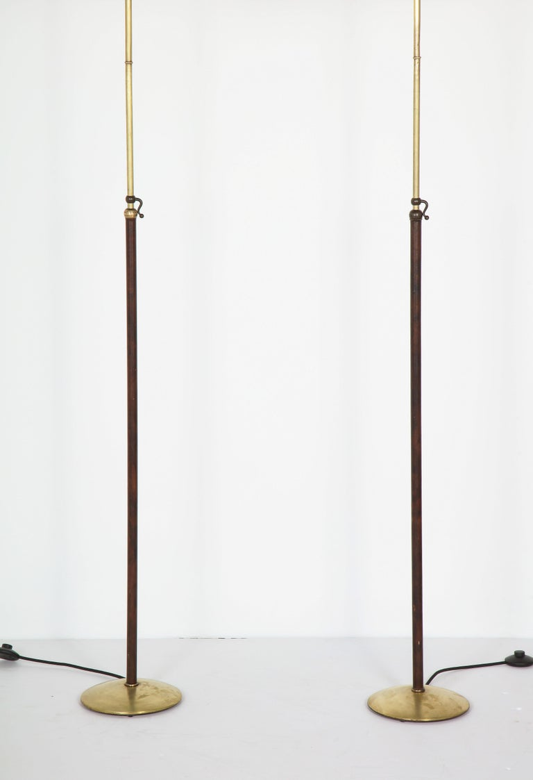 Pair of Adjustable Floor Lamps by Jacques Adnet In Fair Condition For Sale In New York, NY