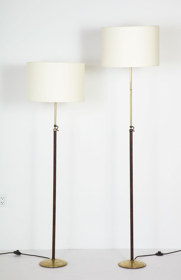 Pair of Adjustable Floor Lamps by Jacques Adnet For Sale 1