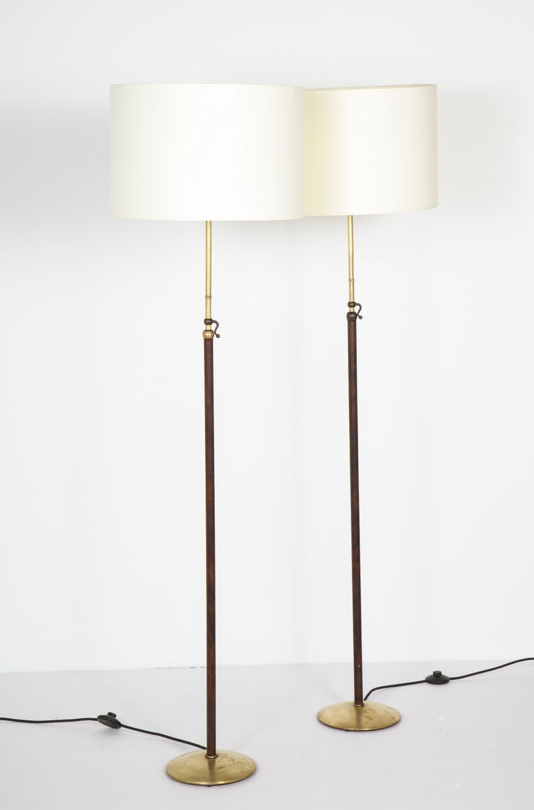 Pair of Adjustable Floor Lamps by Jacques Adnet For Sale 2