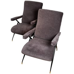 Pair of Adjustable Reclining Upholstered Armchairs with Black Metal Details