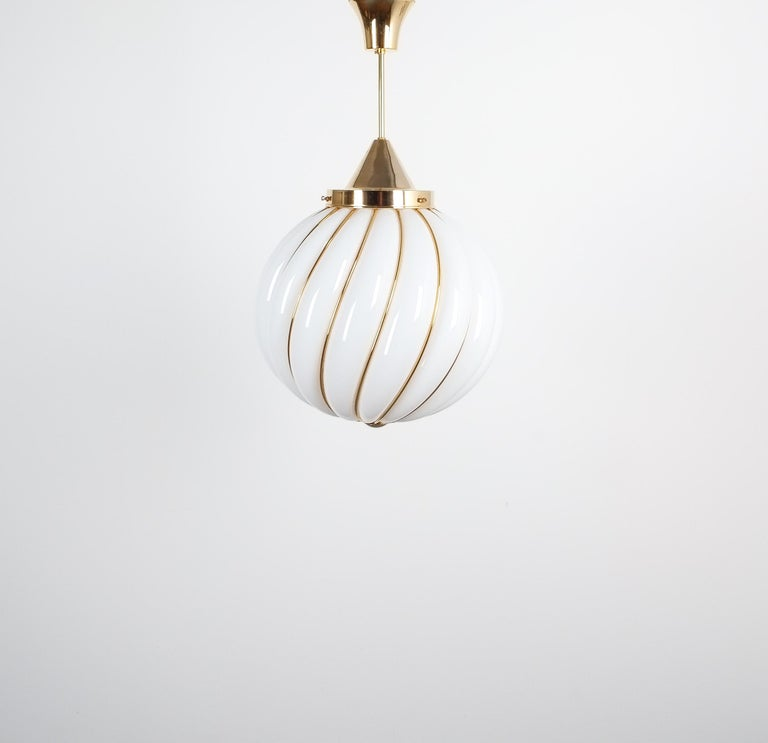 Pair of Adolf Loos Pendant Lamps for VeArt Opal Glass Gold, circa 1960 For Sale 2