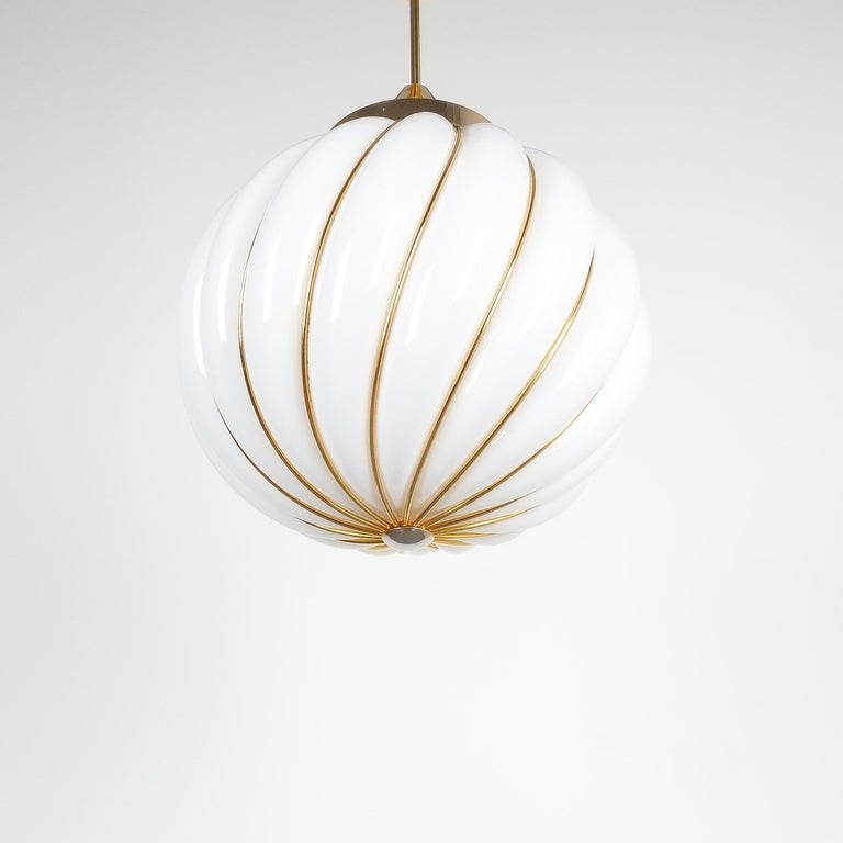 Gilt Pair of Adolf Loos Pendant Lamps for VeArt Opal Glass Gold, circa 1960 For Sale