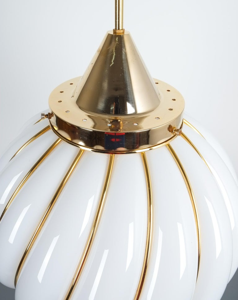 Opaline Glass Pair of Adolf Loos Pendant Lamps for VeArt Opal Glass Gold, circa 1960 For Sale
