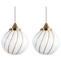 Pair of Adolf Loos Pendant Lamps for VeArt Opal Glass Gold, circa 1960