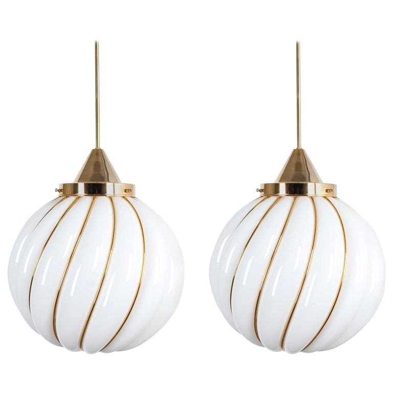 Pair of Adolf Loos Pendant Lamps for VeArt Opal Glass Gold, circa 1960 For Sale