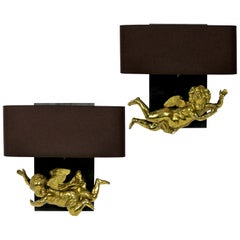 Pair of Adorable Gilt Brass Cherub Wall Sconces
