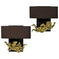Pair of Adorable Gilt Brass Cherub Wall Sconces