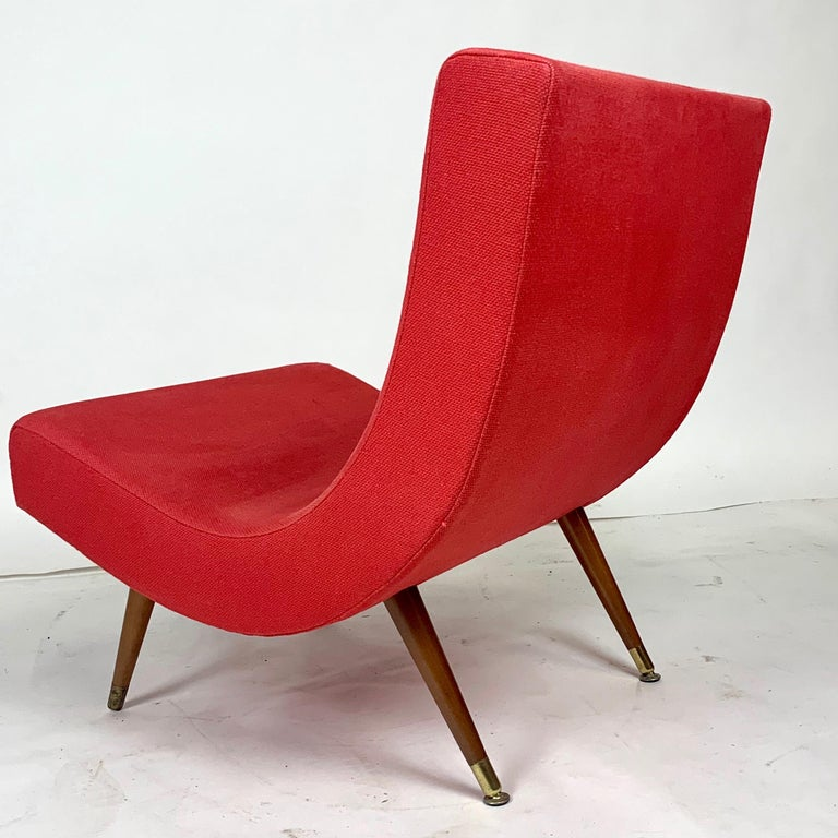 Pair of Adrian Pearsall Attributed Mid-Century Modern Red Scoop Lounge Chairs 4