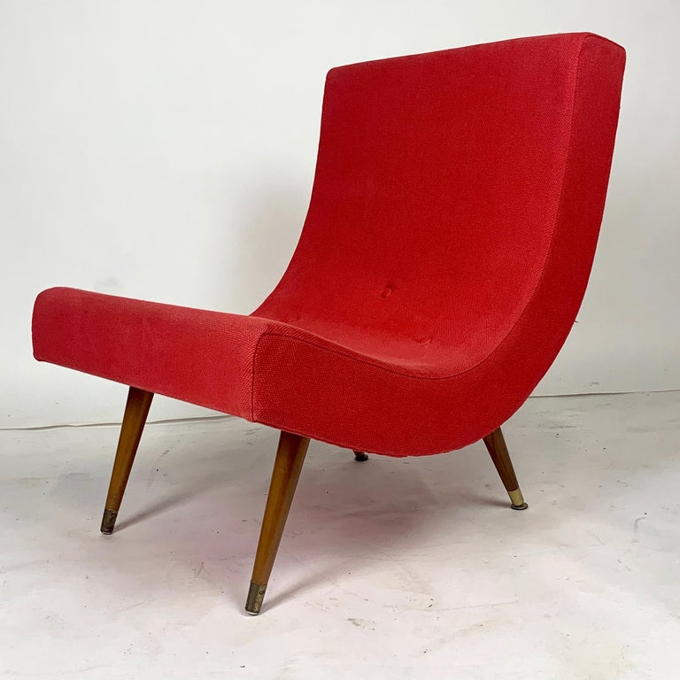 Pair of Adrian Pearsall Attributed Mid-Century Modern Red Scoop Lounge Chairs 5