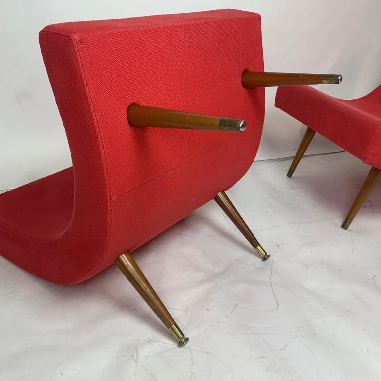 Pair of Adrian Pearsall Attributed Mid-Century Modern Red Scoop Lounge Chairs 6