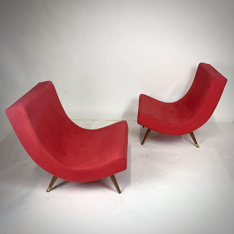 Pair of Adrian Pearsall Attributed Mid-Century Modern Red Scoop Lounge Chairs 9