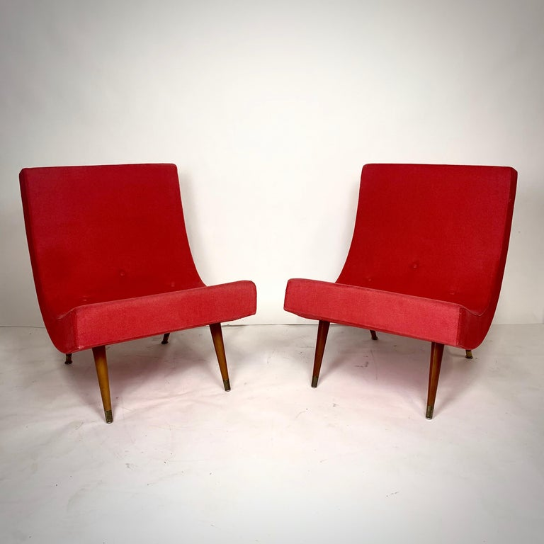 Pair of Adrian Pearsall Attributed Mid-Century Modern Red Scoop Lounge Chairs 10