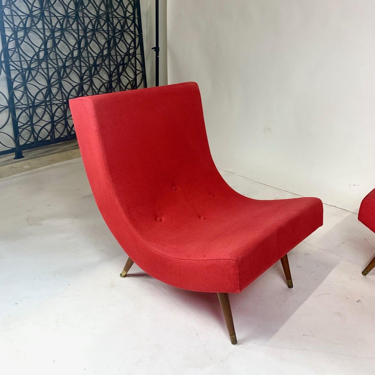 Pair of Adrian Pearsall Attributed Mid-Century Modern Red Scoop Lounge Chairs In Good Condition In Hudson, NY