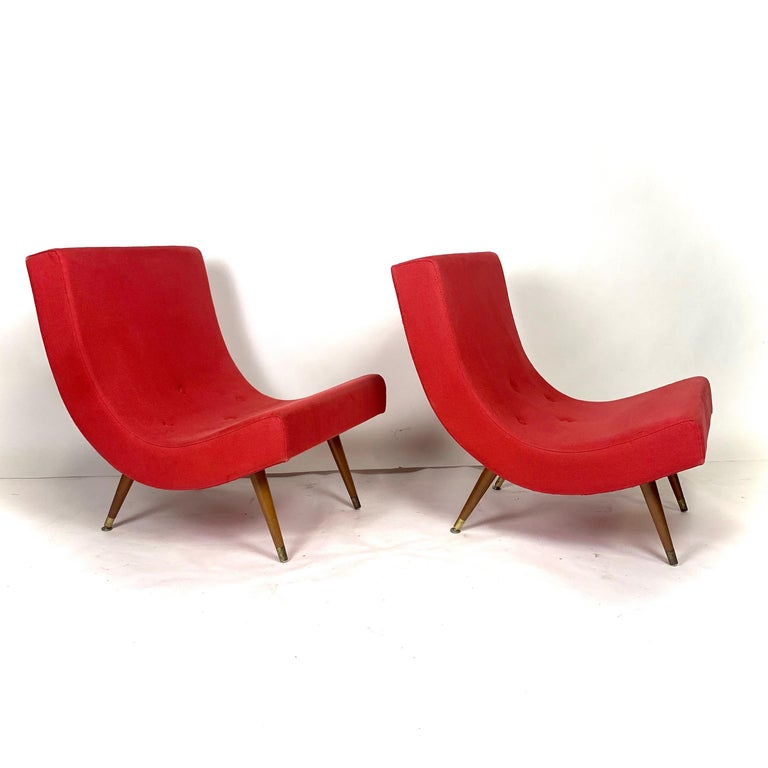 Mid-20th Century Pair of Adrian Pearsall Attributed Mid-Century Modern Red Scoop Lounge Chairs