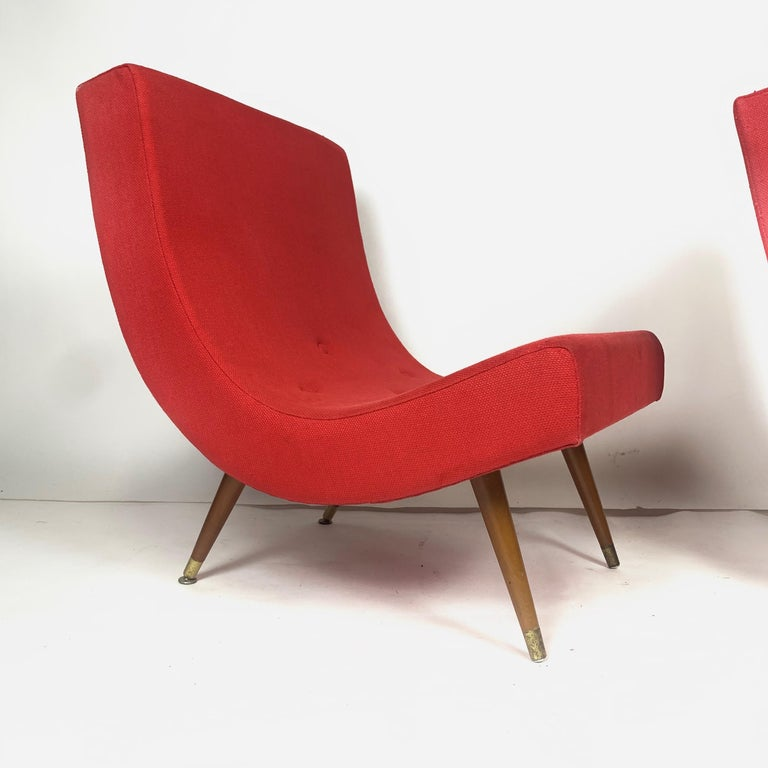 Brass Pair of Adrian Pearsall Attributed Mid-Century Modern Red Scoop Lounge Chairs