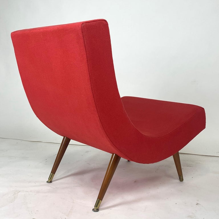 Pair of Adrian Pearsall Attributed Mid-Century Modern Red Scoop Lounge Chairs 2